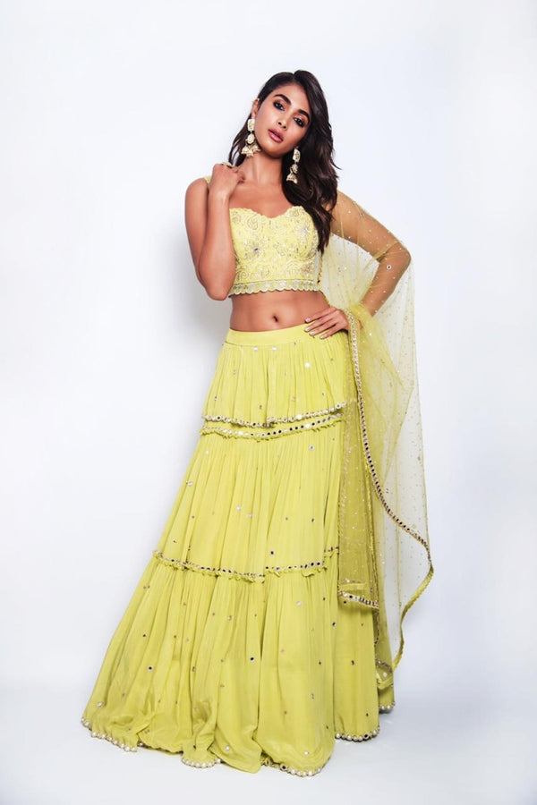 Pooja Hegde in our beautiful lime green outfit