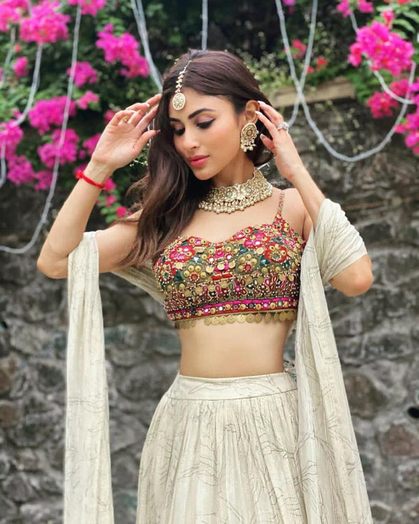 Mouni Roy in Ecru Sitara Lehnga