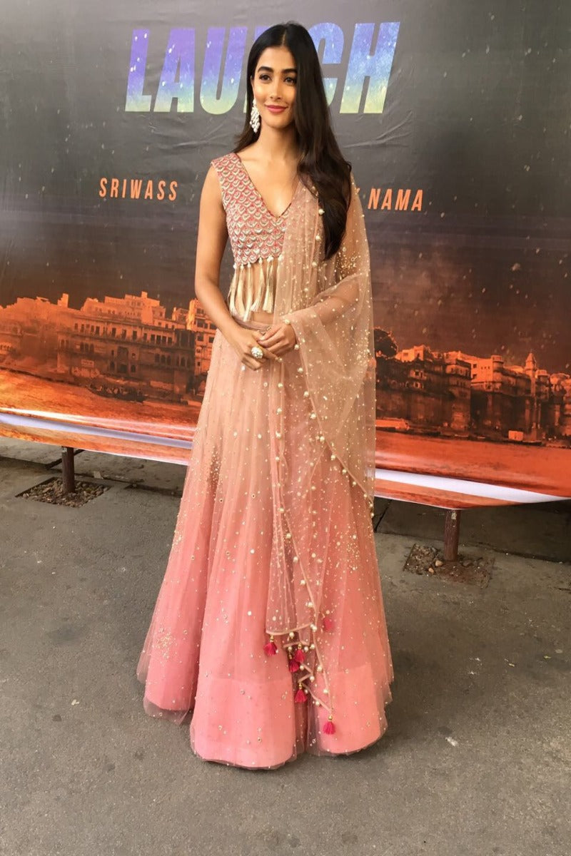 The gorgeous Pooja Hegde dazzles in an ombre Monika Nidhii ensemble