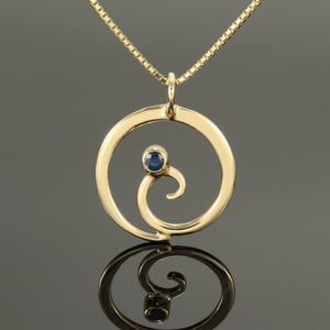 Spiral Pendant with Blue Sapphire
