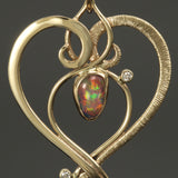 14k Spiral Heart Pendand with Fire Opal and Diamonds