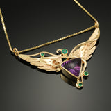 Wing Necklace with Fantasy cut Amethyst and Emerald