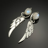 Large Wing Earrings with Moonstone