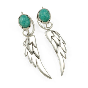 Large Wing earrings with Amazonite