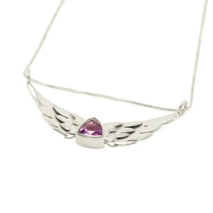 """Trillon"" Wing Necklace with Amethyst"