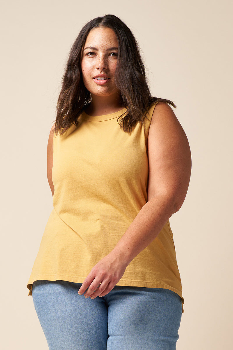 Golden color, recycled and organic cotton, muscle tank