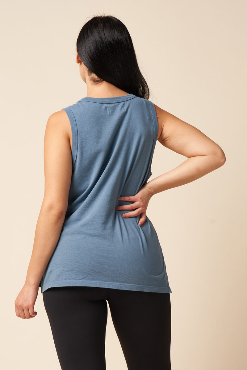 Stone Blue color, recycled and organic cotton, muscle tank