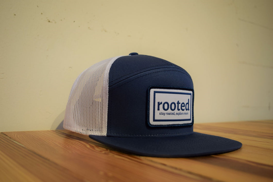 7-panel 'stay rooted' woven patch hat