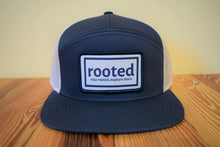 Load image into Gallery viewer, 7-panel 'stay rooted' woven patch hat