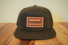 Load image into Gallery viewer, 7-panel 'stay rooted' leather patch hat