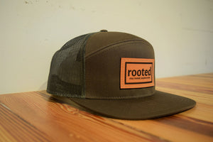 7-panel 'stay rooted' leather patch hat
