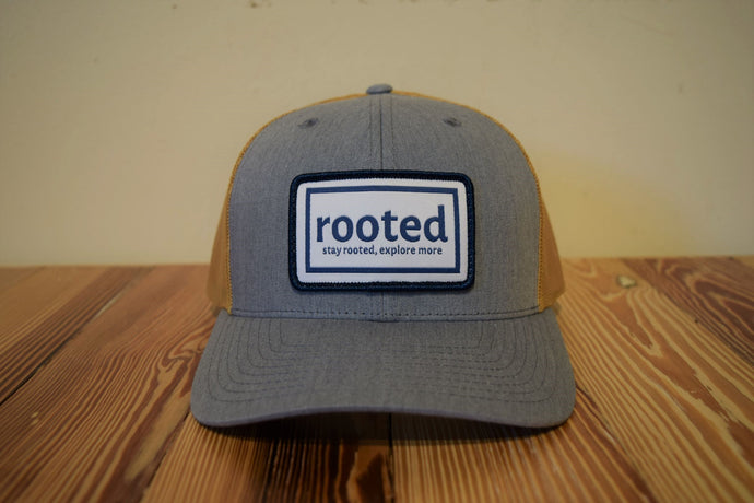 'stay rooted' woven patch hat