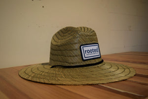 straw 'stay rooted' woven patch hat