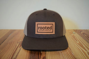 'stay rooted' leather patch hat (color options)