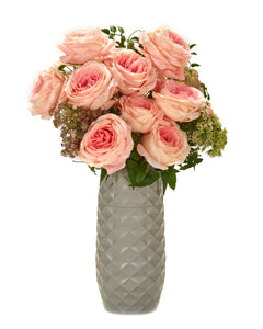 "The Amaranth Vase - 10"" Smarter Vase for Floral Care in Cool Grey Diamond"