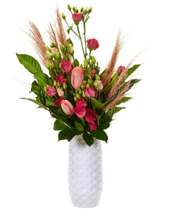 "The Amaranth Vase - 10"" Smarter Vase for Floral Care in White Diamond"