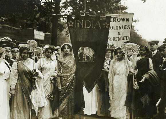 Photograph of Indian suffragettes on the Women's Coronation Procession, 17 June 1911