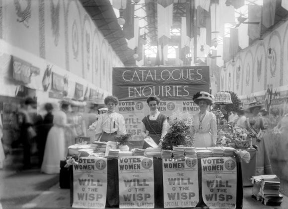 Suffragette stand at The Women's Exhibition: 1909