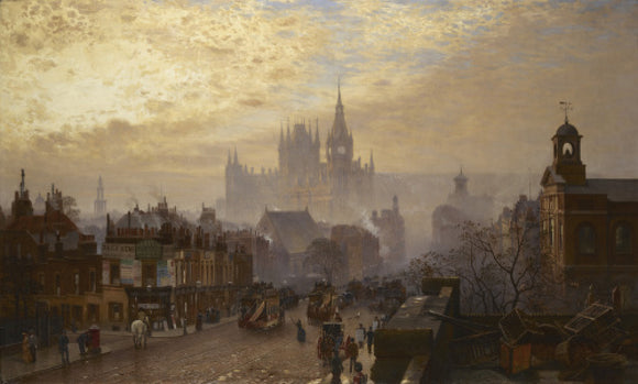 From Pentonville Road looking west: evening: 1884