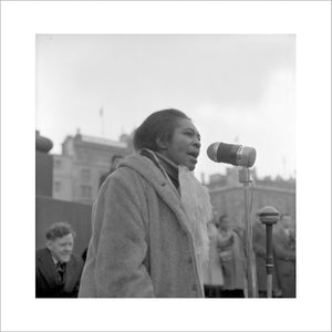 Claudia Jones addresses crowds, Trafalgar Square: 1962