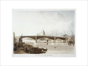 Southwark Iron Bridge as seen from Bank-side: 1819