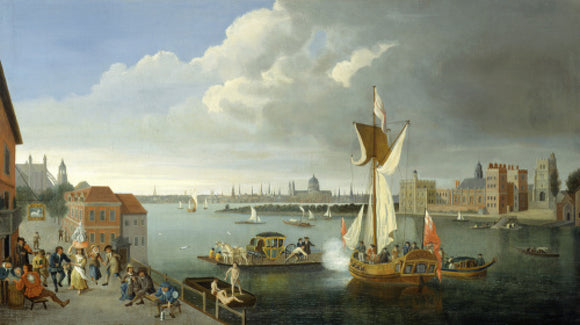 The Thames at Horseferry, with Lambeth Palace and a Distant View of the City: 18th century
