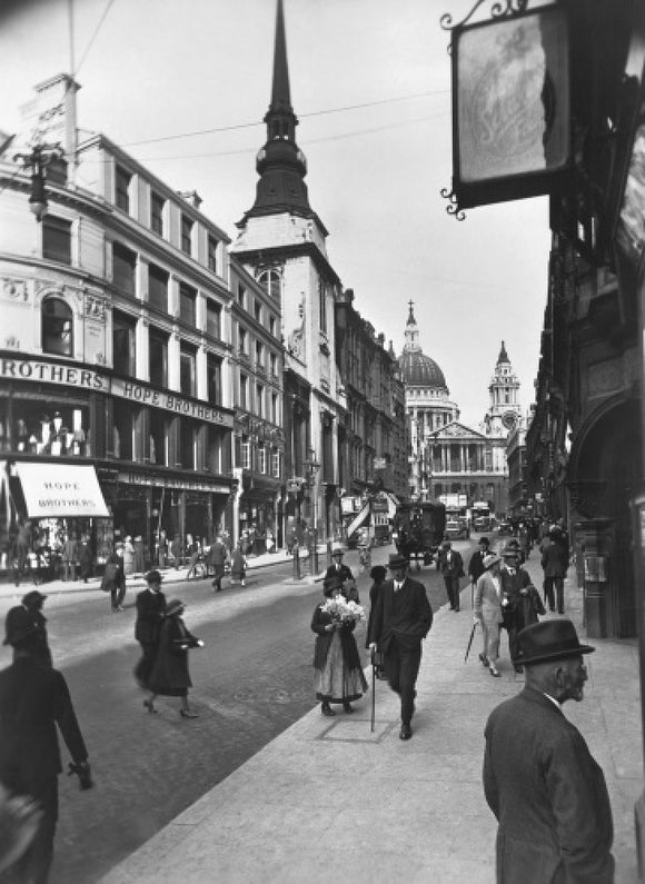 Ludgate Hill looking east to St Pauls Cathedral and St Martin Ludgate: 20th century