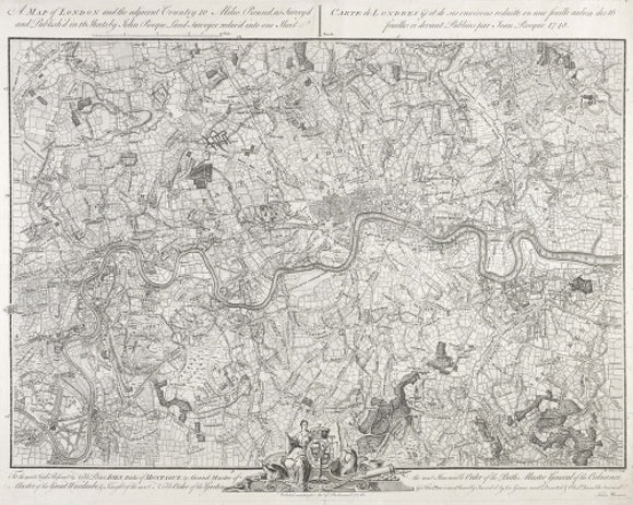A map of London and the adjacent Country 10 Miles Round: 1748