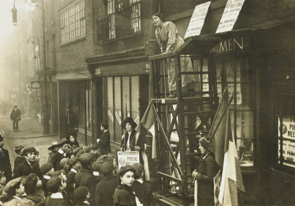 Sylivia Pankhurst addressing a crowd; 1912