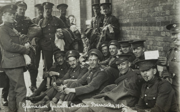 Grenadier Guards awaiting the postman,  1916