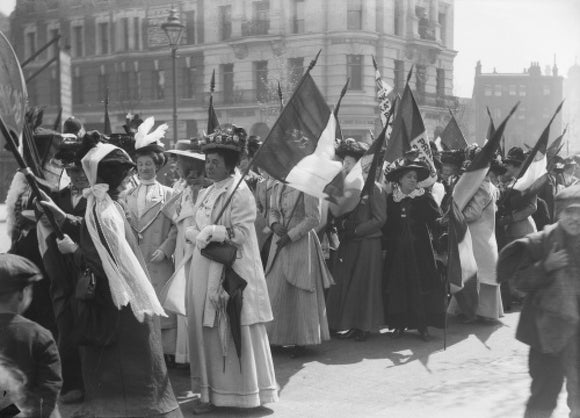 Suffragettes in a procession to promote the Women's Exhibition; 1909