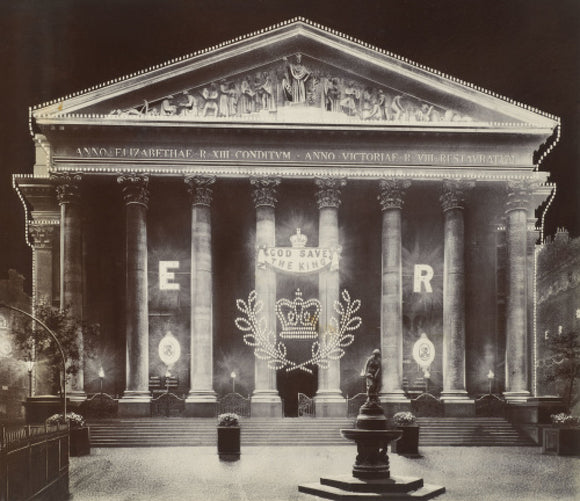 The Royal Exchange at night; C.1915