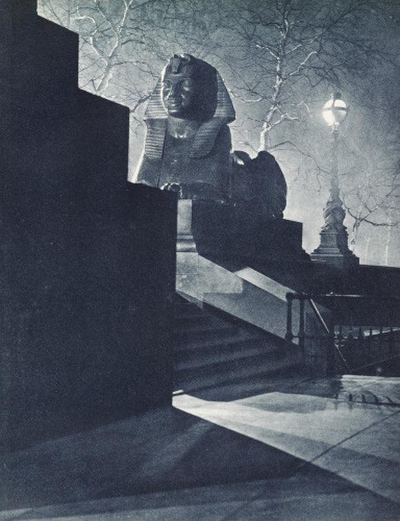 Sphinx on the Victoria Embankment at night; 1934