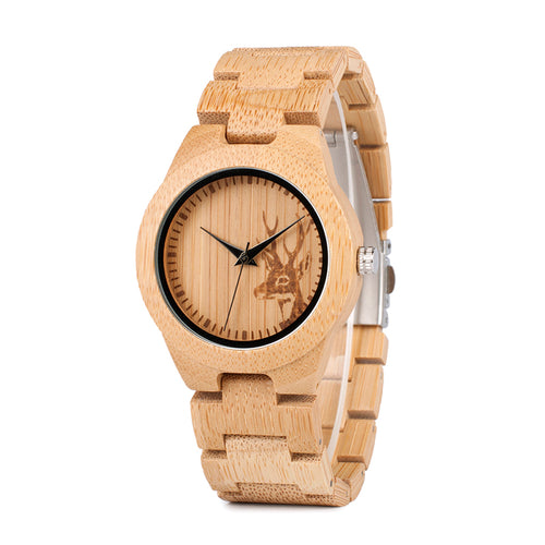 Stylish Deer Bamboo Wrist Watch