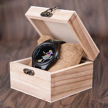 Black Flower Print Wooden Watch