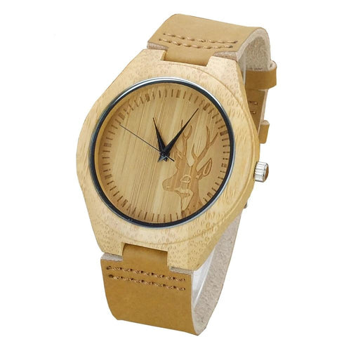 Elk Deer Bamboo Watch with Leather Band