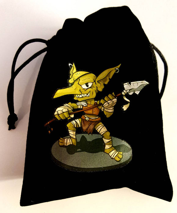 D&D Dungeons and Dragons Pathfinder Goblin Black Velvet Dice Bag Satin Lining Custom Dice Bag DCC Pathfinder Token Coin Counter Bag