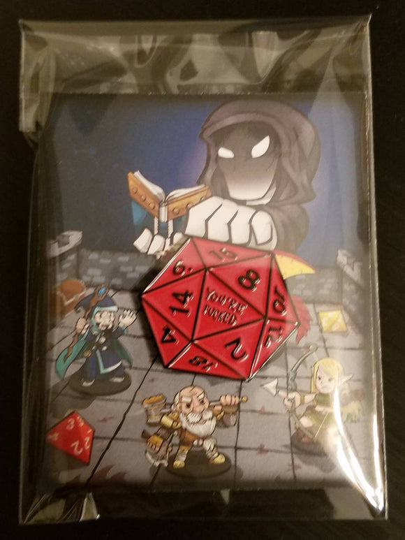 D&D Dungeons and Dragons D20 Red Dice Lapel Pin DCC Pathfinder RPG D20 Gamer Pin