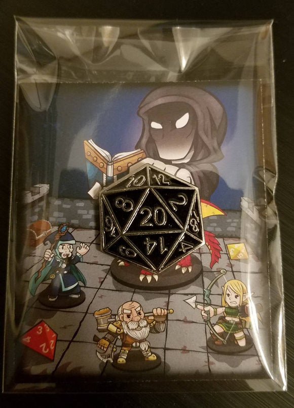 D&D Dungeons and Dragons Dice Black Silver D20 Lapel Pin DCC Pathfinder RPG Gamer Pin Enamel