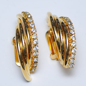 Gold Half strass earrings