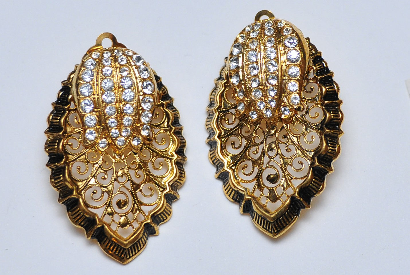Gold leaf strass earrings