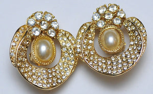 Rich strass W pearl earrings
