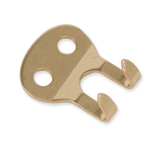 2-Prong Strap Hook Solid Brass