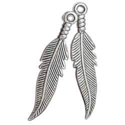 Feather Embellishments-Silver Plated 1 Pair
