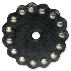 Leather Conchos With Round Spots Black