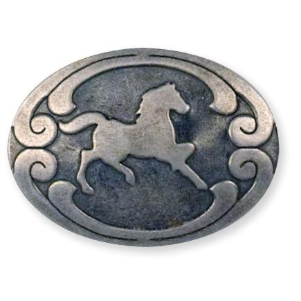 "Horse Stamped Steel Concho 1-3/8"" (34 mm) X 1"" (25 mm)"