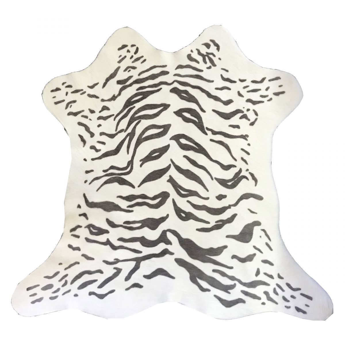 Hair-On Calfskin Print Grey Tiger