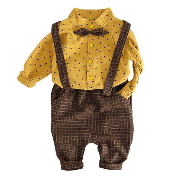 Infant Kids Baby Girl Boy Star Print T-shirt+Solid Plaid Overall Pants Outfits