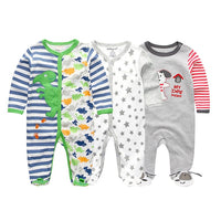 2019 1/2/3/4pcs/lot Cartoon Baby Boy Girl  Newborn Jumpsuit