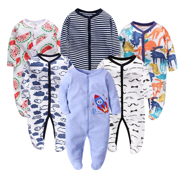6pieces/lot Baby rompers Newborn Baby Girls Boys Clothes  Long Sleeves Baby Pajamas